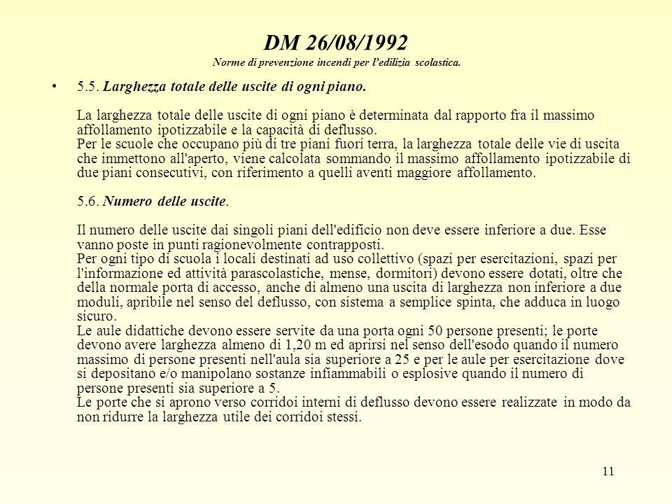 11 DM 26/08/1992 Norme di prevenzione incendi per ledilizia scolastica. 5.5. Larghezza totale delle uscite di ogni piano. La larghezza totale delle us