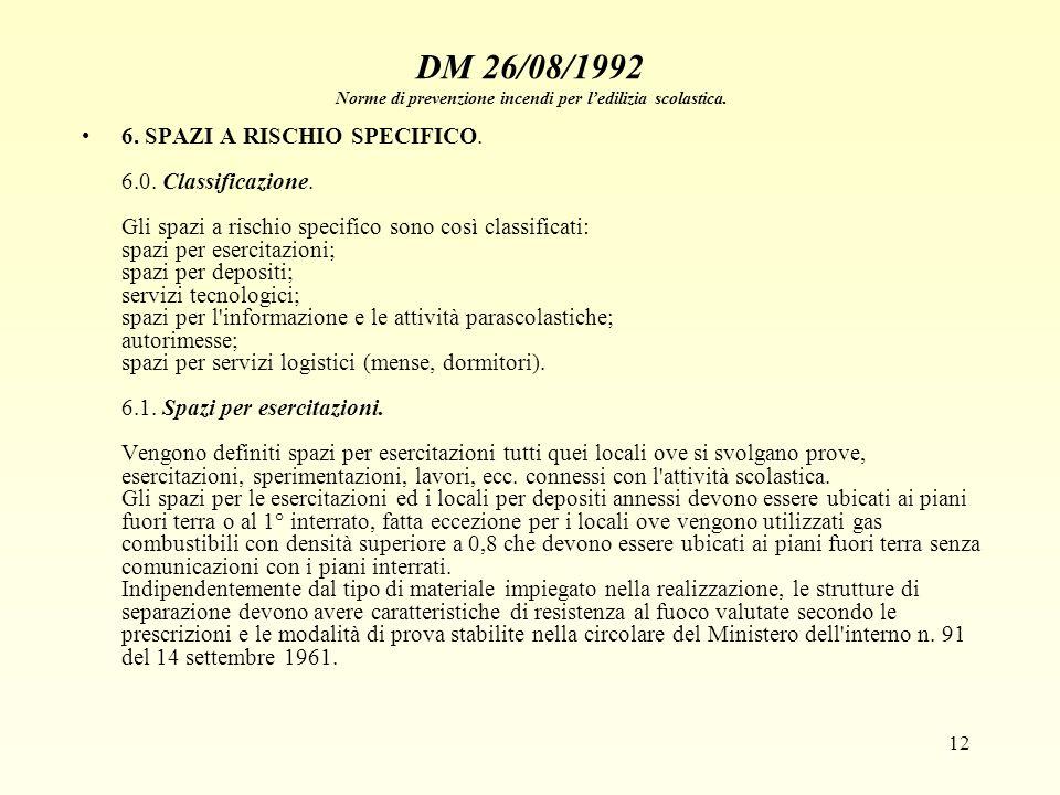12 DM 26/08/1992 Norme di prevenzione incendi per ledilizia scolastica. 6. SPAZI A RISCHIO SPECIFICO. 6.0. Classificazione. Gli spazi a rischio specif