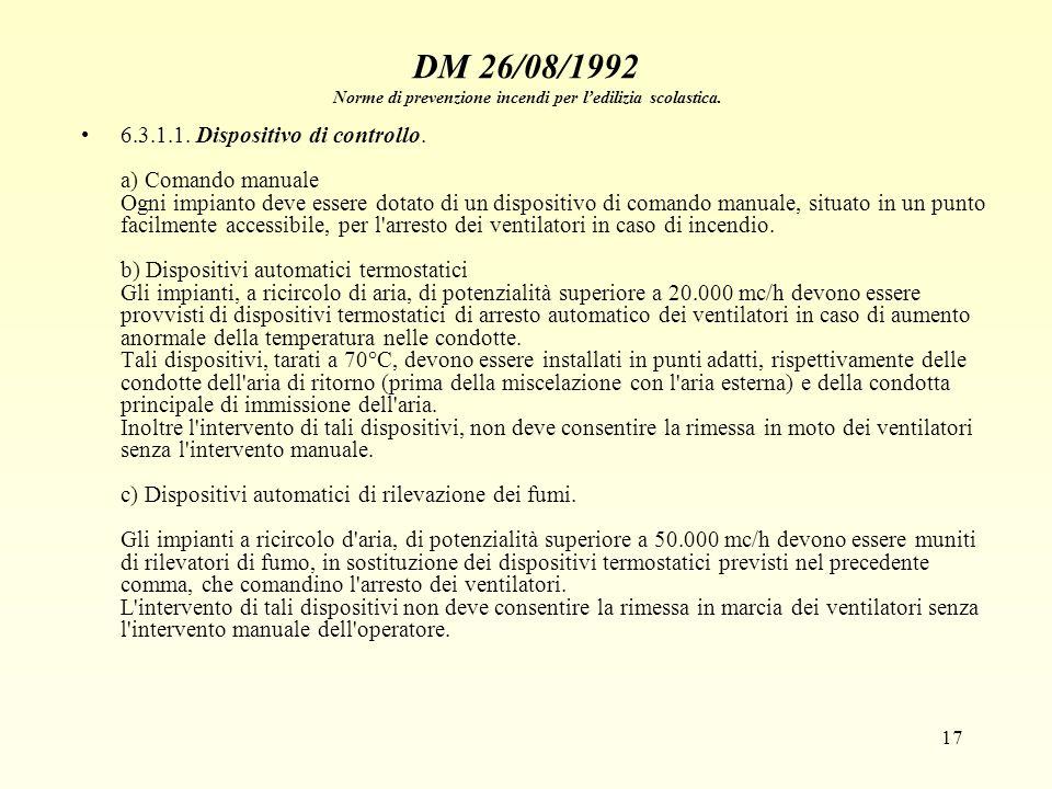 17 DM 26/08/1992 Norme di prevenzione incendi per ledilizia scolastica. 6.3.1.1. Dispositivo di controllo. a) Comando manuale Ogni impianto deve esser