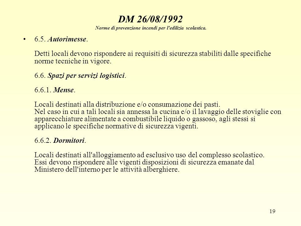 19 DM 26/08/1992 Norme di prevenzione incendi per ledilizia scolastica. 6.5. Autorimesse. Detti locali devono rispondere ai requisiti di sicurezza sta