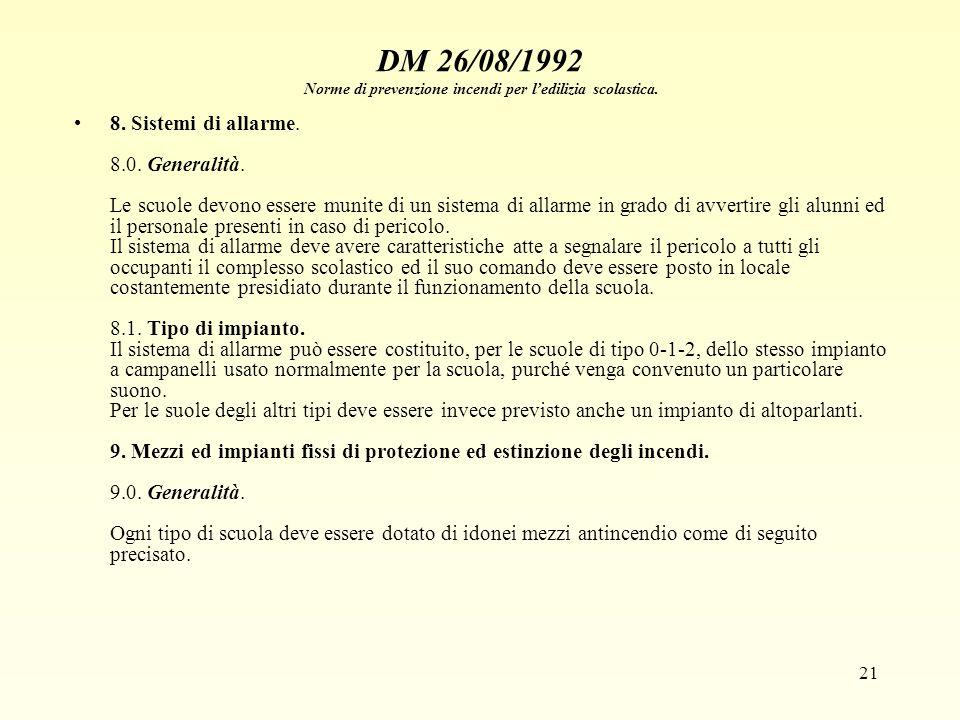 21 DM 26/08/1992 Norme di prevenzione incendi per ledilizia scolastica. 8. Sistemi di allarme. 8.0. Generalità. Le scuole devono essere munite di un s
