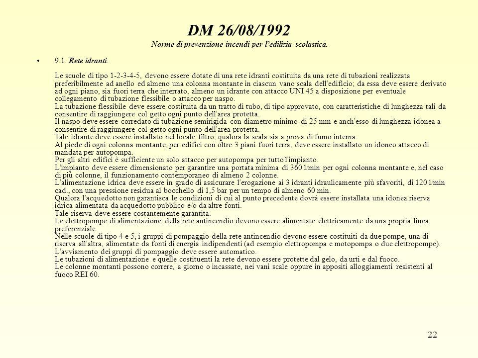 22 DM 26/08/1992 Norme di prevenzione incendi per ledilizia scolastica. 9.1. Rete idranti. Le scuole di tipo 1-2-3-4-5, devono essere dotate di una re