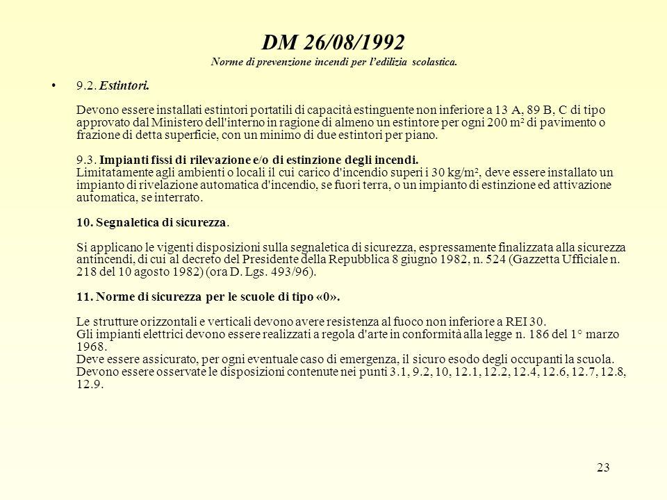23 DM 26/08/1992 Norme di prevenzione incendi per ledilizia scolastica. 9.2. Estintori. Devono essere installati estintori portatili di capacità estin