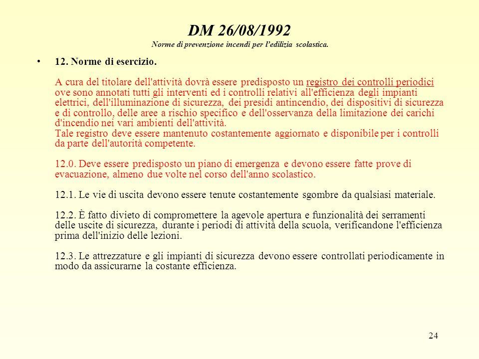 24 DM 26/08/1992 Norme di prevenzione incendi per ledilizia scolastica. 12. Norme di esercizio. A cura del titolare dell'attività dovrà essere predisp