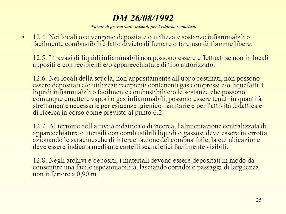 25 DM 26/08/1992 Norme di prevenzione incendi per ledilizia scolastica. 12.4. Nei locali ove vengono depositate o utilizzate sostanze infiammabili o f