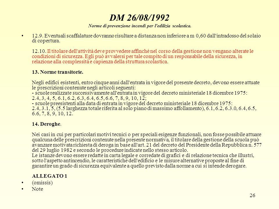 26 DM 26/08/1992 Norme di prevenzione incendi per ledilizia scolastica. 12.9. Eventuali scaffalature dovranno risultare a distanza non inferiore a m 0