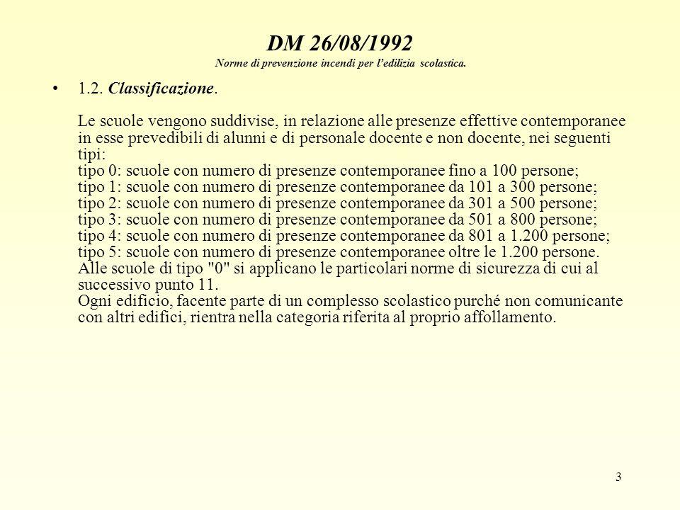 3 DM 26/08/1992 Norme di prevenzione incendi per ledilizia scolastica. 1.2. Classificazione. Le scuole vengono suddivise, in relazione alle presenze e