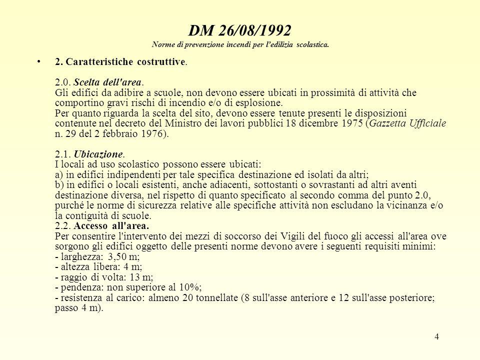 4 DM 26/08/1992 Norme di prevenzione incendi per ledilizia scolastica. 2. Caratteristiche costruttive. 2.0. Scelta dell'area. Gli edifici da adibire a