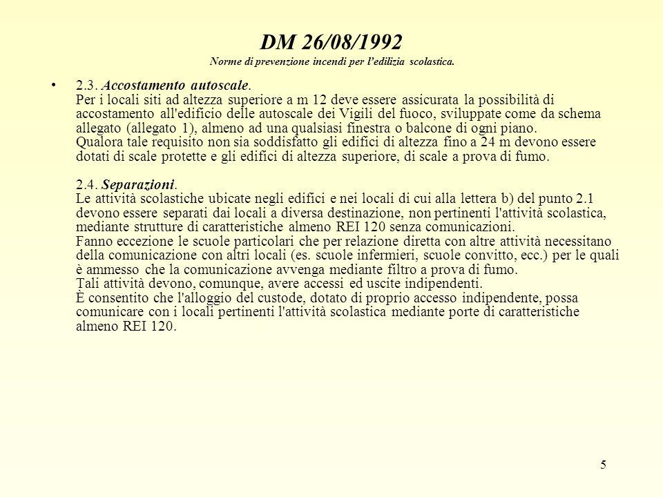 5 DM 26/08/1992 Norme di prevenzione incendi per ledilizia scolastica. 2.3. Accostamento autoscale. Per i locali siti ad altezza superiore a m 12 deve