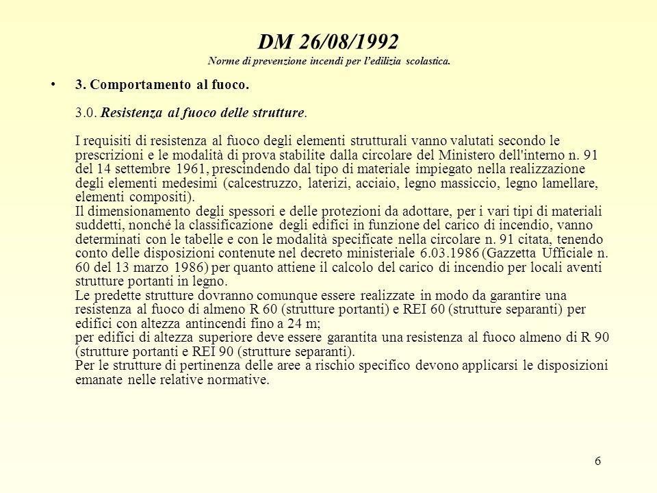 6 DM 26/08/1992 Norme di prevenzione incendi per ledilizia scolastica. 3. Comportamento al fuoco. 3.0. Resistenza al fuoco delle strutture. I requisit