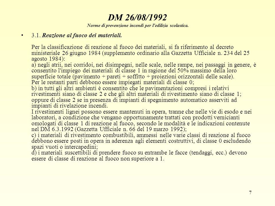 7 DM 26/08/1992 Norme di prevenzione incendi per ledilizia scolastica. 3.1. Reazione al fuoco dei materiali. Per la classificazione di reazione al fuo