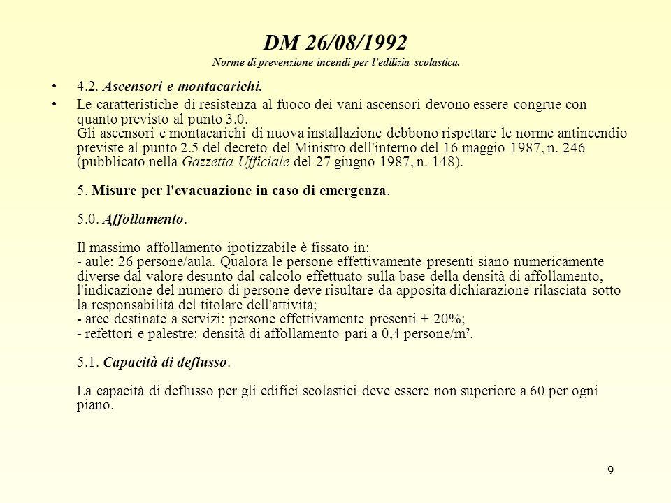 9 DM 26/08/1992 Norme di prevenzione incendi per ledilizia scolastica. 4.2. Ascensori e montacarichi. Le caratteristiche di resistenza al fuoco dei va