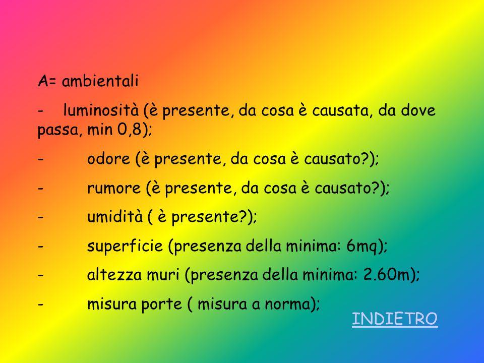 A= ambientali - luminosità (è presente, da cosa è causata, da dove passa, min 0,8); - odore (è presente, da cosa è causato?); - rumore (è presente, da