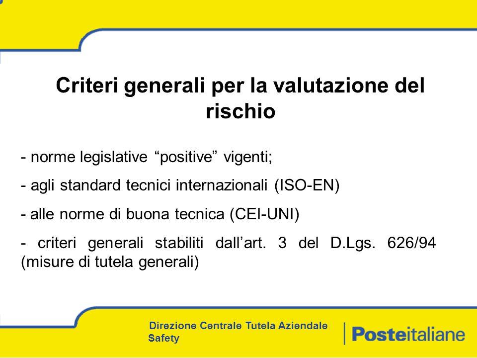 Direzione Centrale Tutela Aziendale Safety - norme legislative positive vigenti; - agli standard tecnici internazionali (ISO-EN) - alle norme di buona tecnica (CEI-UNI) - criteri generali stabiliti dallart.