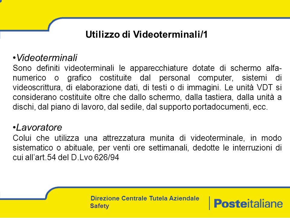 Utilizzo di Videoterminali/1 Videoterminali Sono definiti videoterminali le apparecchiature dotate di schermo alfa- numerico o grafico costituite dal personal computer, sistemi di videoscrittura, di elaborazione dati, di testi o di immagini.