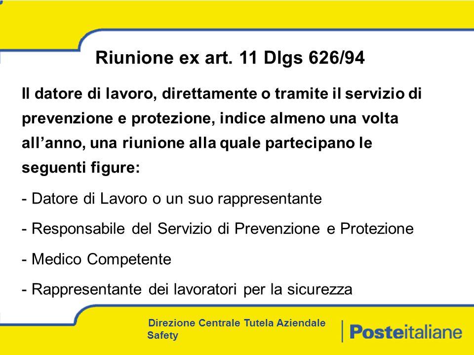 Direzione Centrale Tutela Aziendale Safety Riunione ex art.