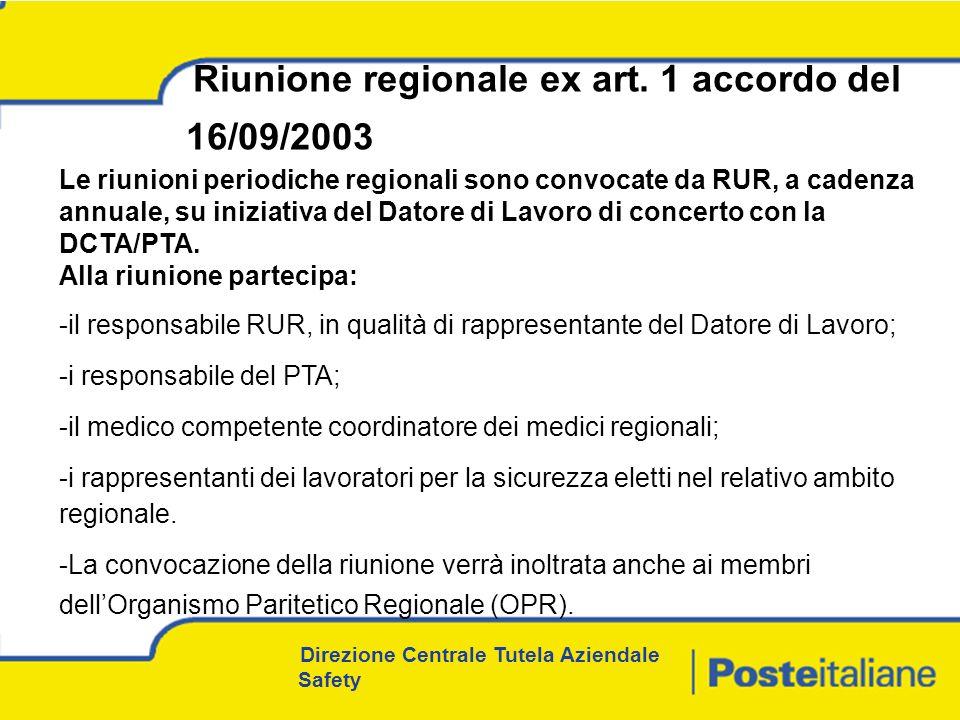 Direzione Centrale Tutela Aziendale Safety Riunione regionale ex art.