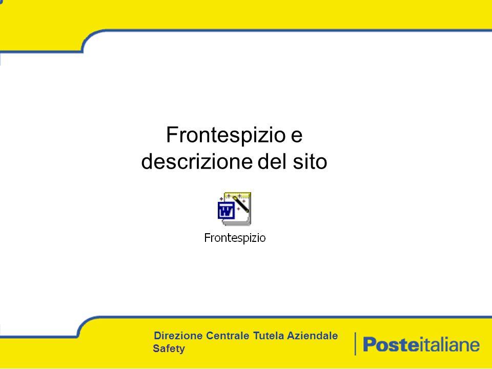 Direzione Centrale Tutela Aziendale Safety Frontespizio e descrizione del sito