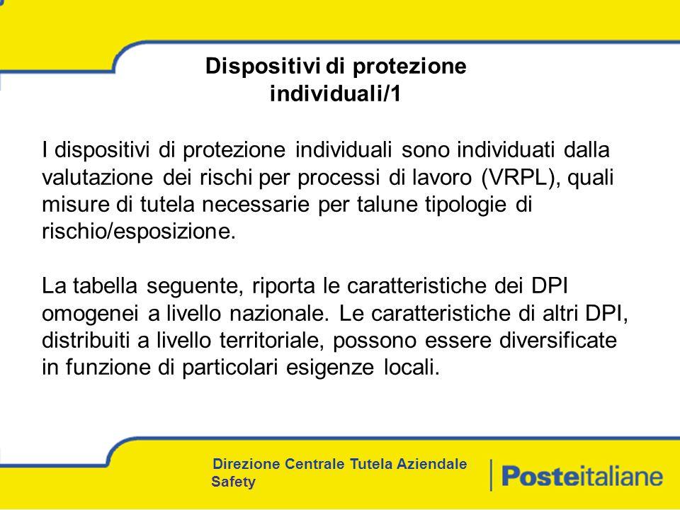 I dispositivi di protezione individuali sono individuati dalla valutazione dei rischi per processi di lavoro (VRPL), quali misure di tutela necessarie per talune tipologie di rischio/esposizione.