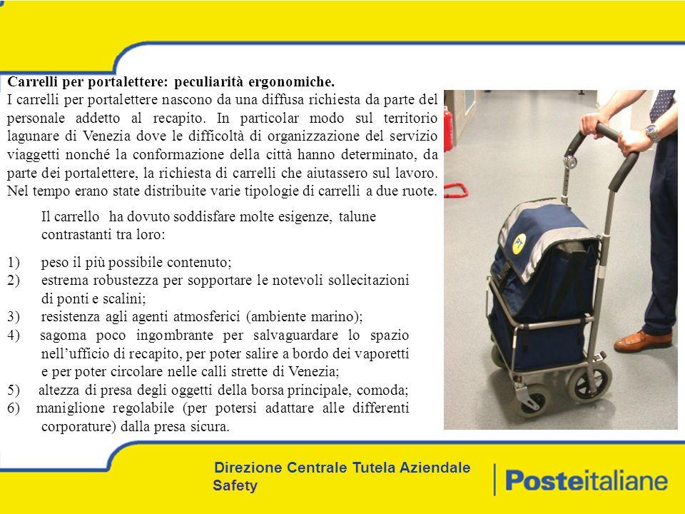 Direzione Centrale Tutela Aziendale Safety Carrelli per portalettere: peculiarità ergonomiche.