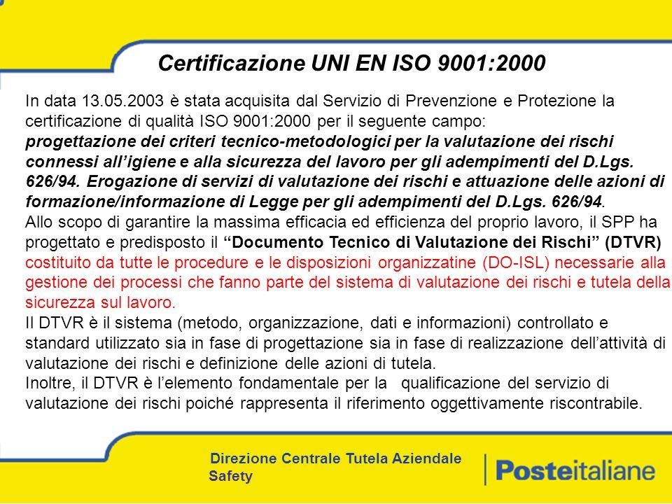In data 13.05.2003 è stata acquisita dal Servizio di Prevenzione e Protezione la certificazione di qualità ISO 9001:2000 per il seguente campo: progettazione dei criteri tecnico-metodologici per la valutazione dei rischi connessi alligiene e alla sicurezza del lavoro per gli adempimenti del D.Lgs.