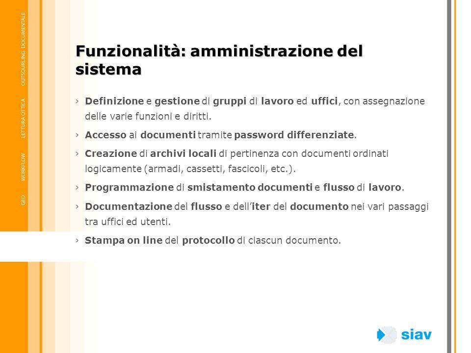 Definizione e gestione di gruppi di lavoro ed uffici, con assegnazione delle varie funzioni e diritti. Accesso ai documenti tramite password differenz