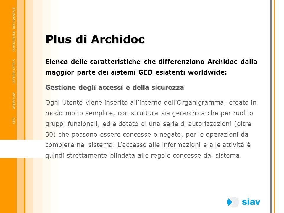 Elenco delle caratteristiche che differenziano Archidoc dalla maggior parte dei sistemi GED esistenti worldwide: Gestione degli accessi e della sicure