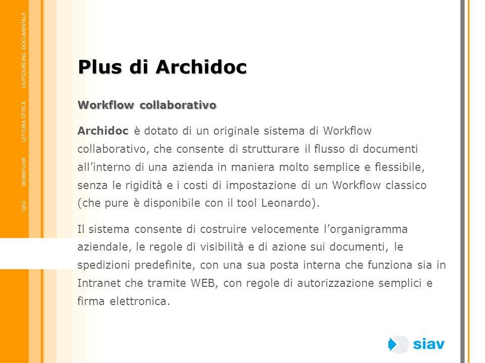 Workflow collaborativo Archidoc è dotato di un originale sistema di Workflow collaborativo, che consente di strutturare il flusso di documenti allinte