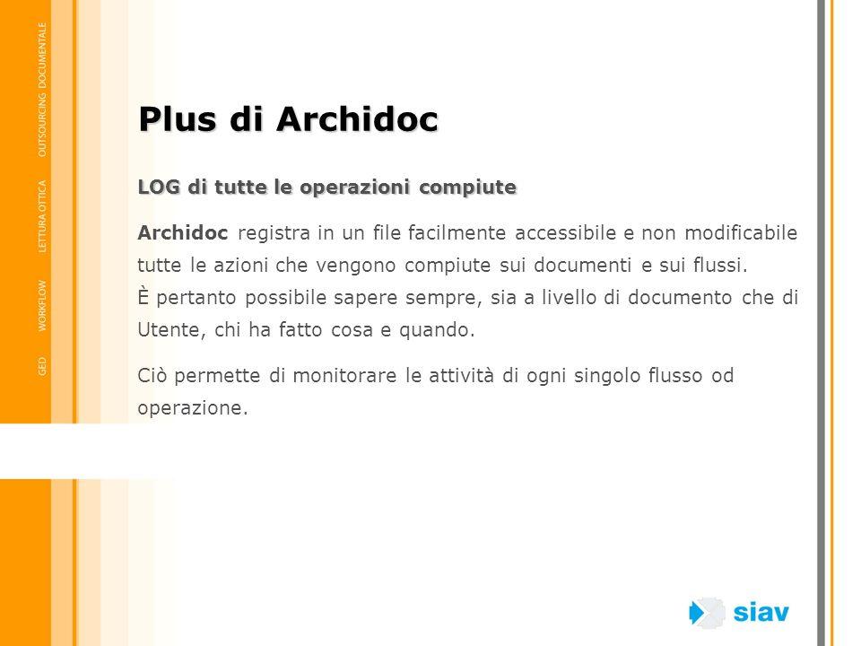LOG di tutte le operazioni compiute Archidoc registra in un file facilmente accessibile e non modificabile tutte le azioni che vengono compiute sui do