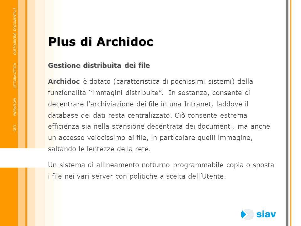 Gestione distribuita dei file Archidoc è dotato (caratteristica di pochissimi sistemi) della funzionalità immagini distribuite. In sostanza, consente