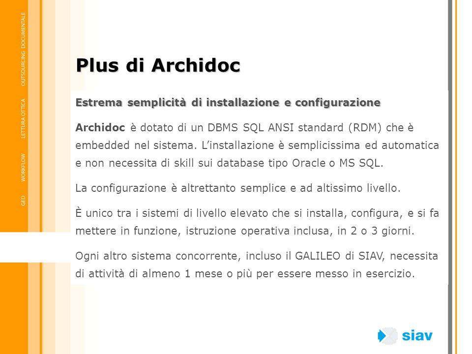 Estrema semplicità di installazione e configurazione Archidoc è dotato di un DBMS SQL ANSI standard (RDM) che è embedded nel sistema. Linstallazione è