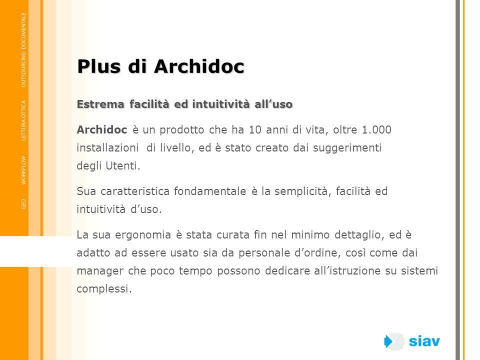 Estrema facilità ed intuitività alluso Archidoc è un prodotto che ha 10 anni di vita, oltre 1.000 installazioni di livello, ed è stato creato dai sugg