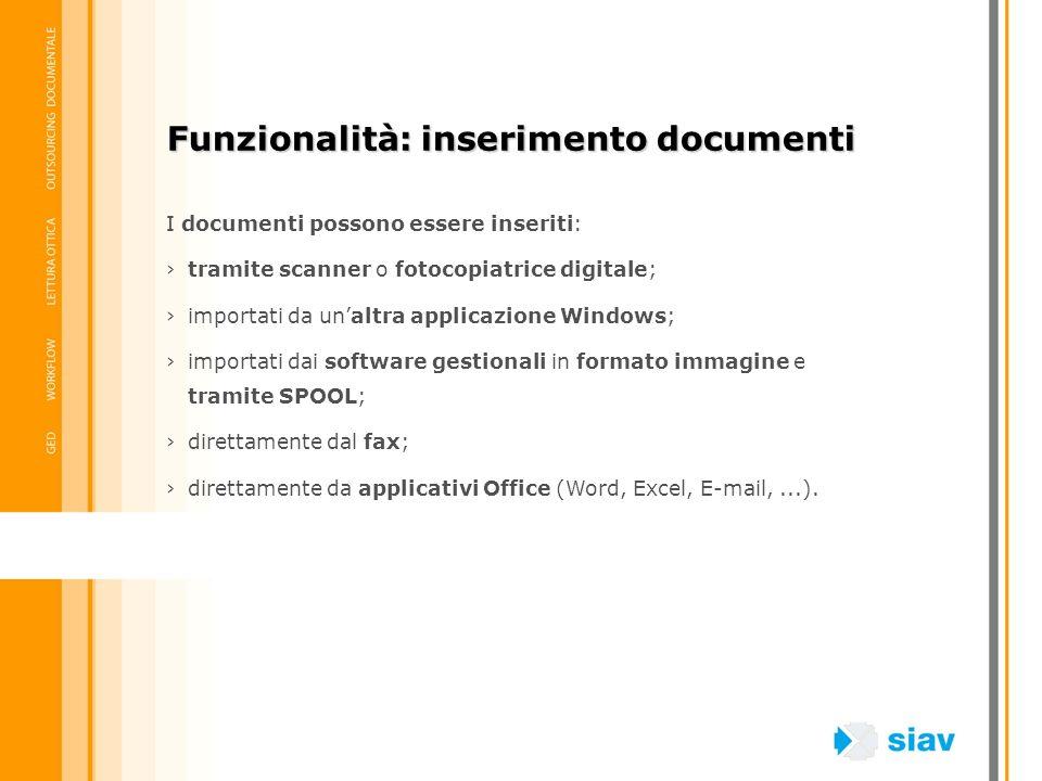 Funzionalità: inserimento documenti I documenti possono essere inseriti: tramite scanner o fotocopiatrice digitale; importati da unaltra applicazione