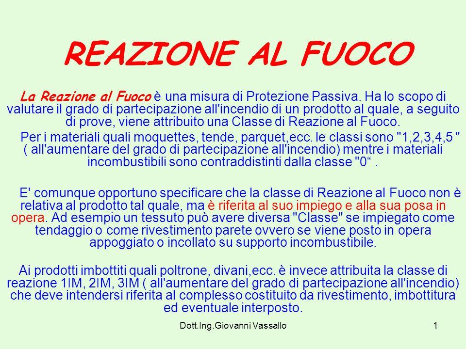 Dott.Ing.Giovanni Vassallo1 REAZIONE AL FUOCO La Reazione al Fuoco è una misura di Protezione Passiva.
