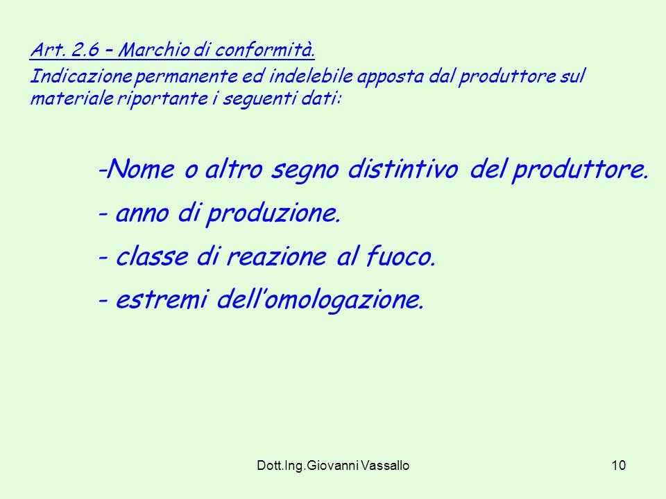 Dott.Ing.Giovanni Vassallo9 Art. 2.3 – Omologazione dei materiali ai fini della prevenzione incendi, Procedura tecnico-amministrativa con la quale vie