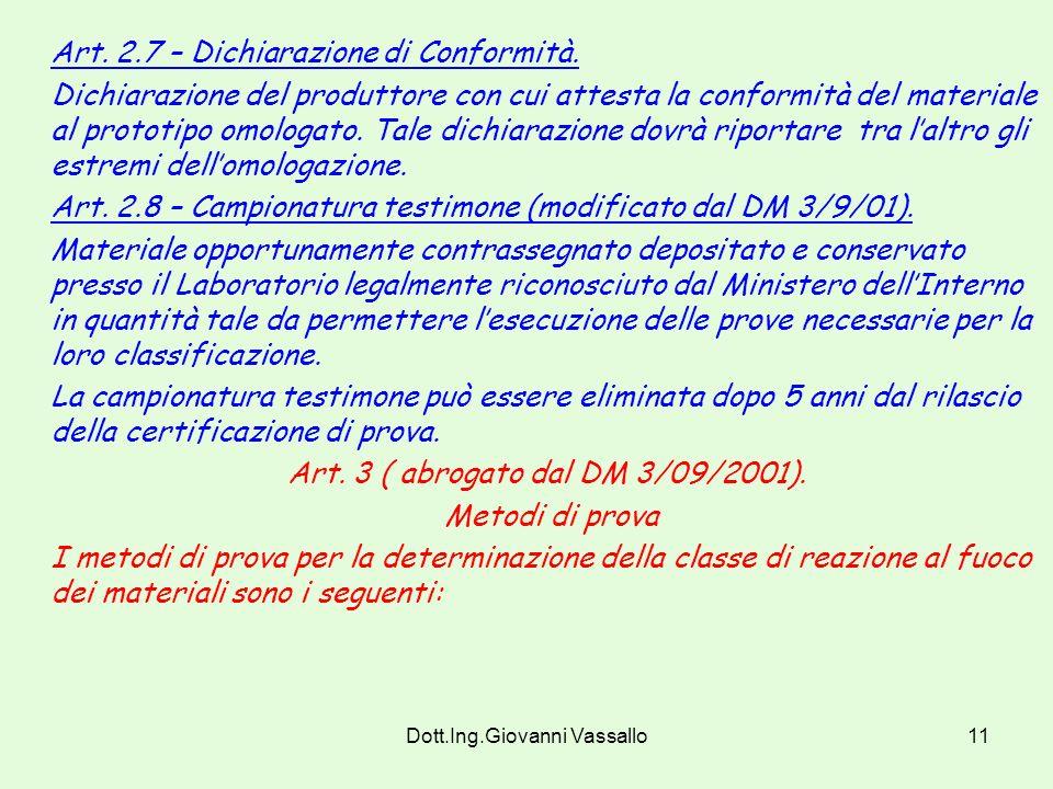 Dott.Ing.Giovanni Vassallo10 Art. 2.6 – Marchio di conformità. Indicazione permanente ed indelebile apposta dal produttore sul materiale riportante i