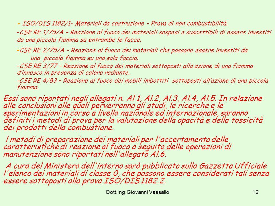 Dott.Ing.Giovanni Vassallo11 Art. 2.7 – Dichiarazione di Conformità. Dichiarazione del produttore con cui attesta la conformità del materiale al proto