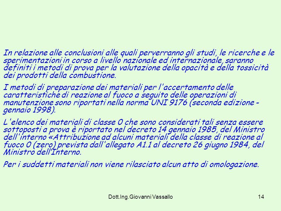 Dott.Ing.Giovanni Vassallo13 Art. 3 (modificato dal DM 3/9/01). Metodi di prova. I metodi di prova per la determinazione della classe di reazione al f