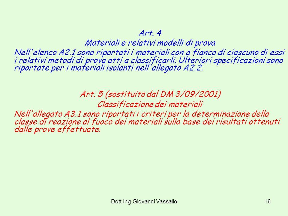 Dott.Ing.Giovanni Vassallo15 Infatti : Il Decreto Ministeriale 14/1/1985, attribuisce dufficio, senza quindi necessita di prova, la classe zero ai seg