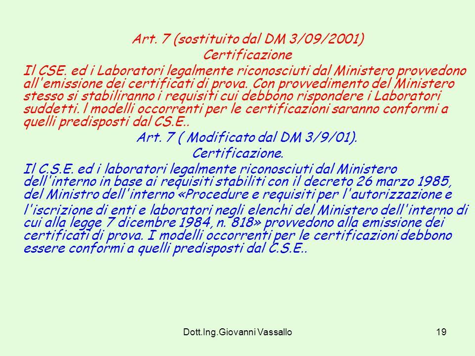 Dott.Ing.Giovanni Vassallo18 Art. 6 Impiego dei materiali La classe di reazione al fuoco richiesta per l'impiego dei suddetti materiali in relazione a