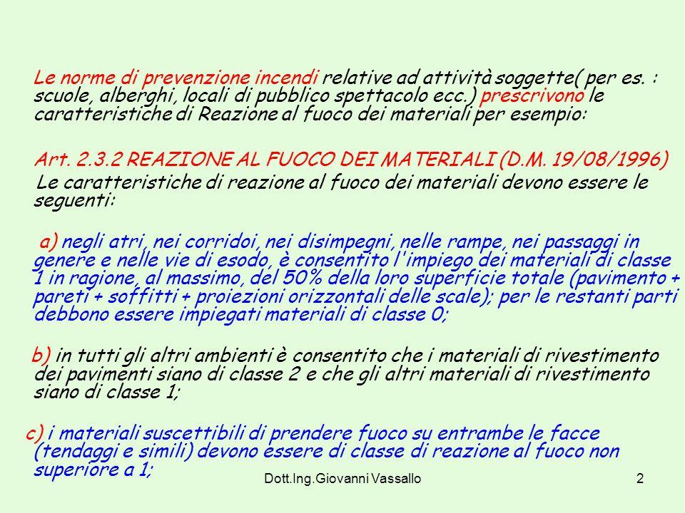 Dott.Ing.Giovanni Vassallo1 REAZIONE AL FUOCO La Reazione al Fuoco è una misura di Protezione Passiva. Ha lo scopo di valutare il grado di partecipazi