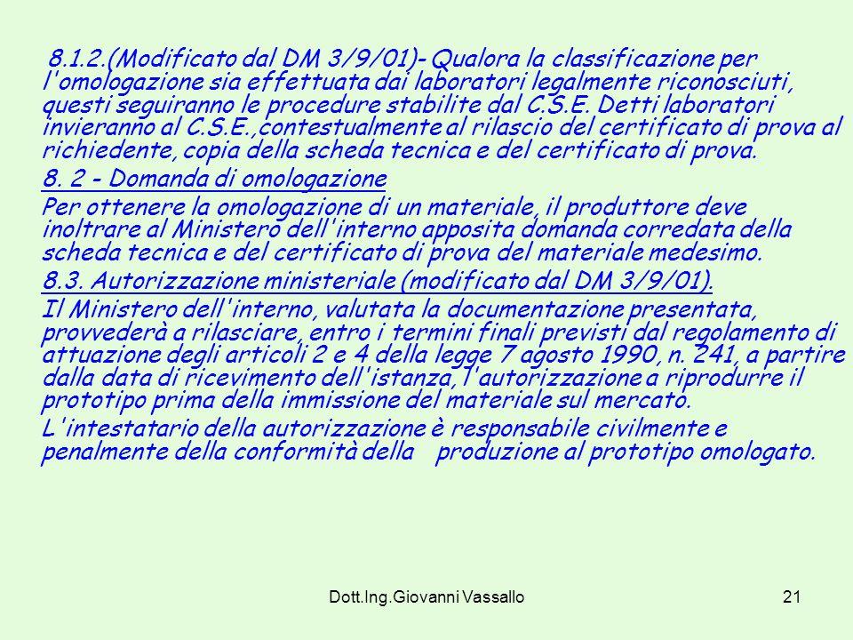 Dott.Ing.Giovanni Vassallo20 Art. 8 Procedure per l'omologazione dei materiali 8. 1 - Classificazione dei materiali ai fini dell'omologazione. Per la