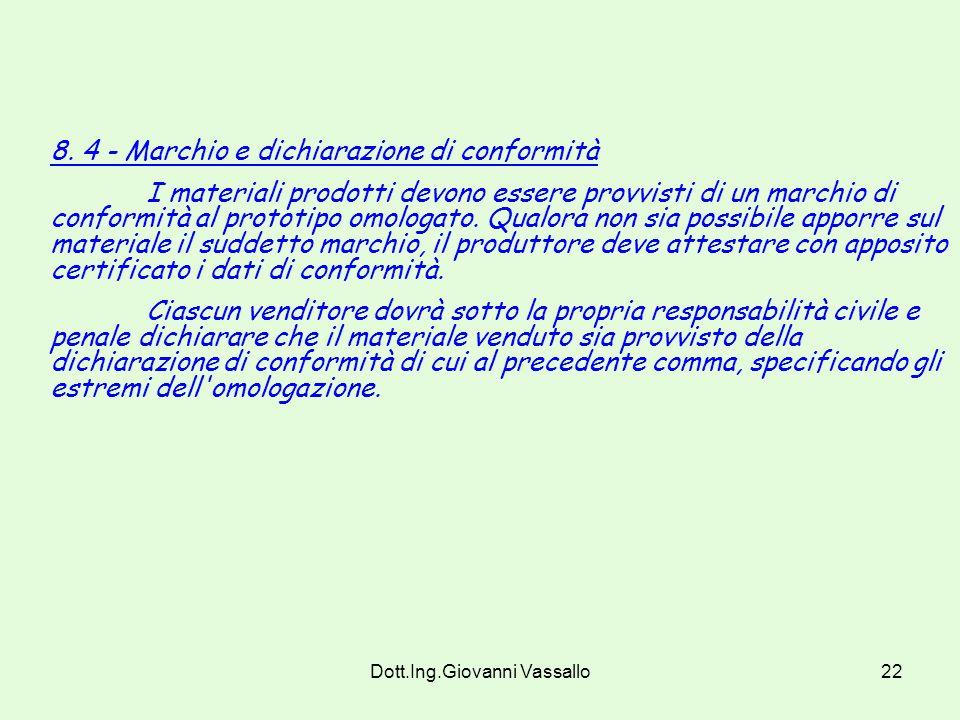 Dott.Ing.Giovanni Vassallo21 8.1.2.(Modificato dal DM 3/9/01)- Qualora la classificazione per l omologazione sia effettuata dai laboratori legalmente riconosciuti, questi seguiranno le procedure stabilite dal C.S.E.