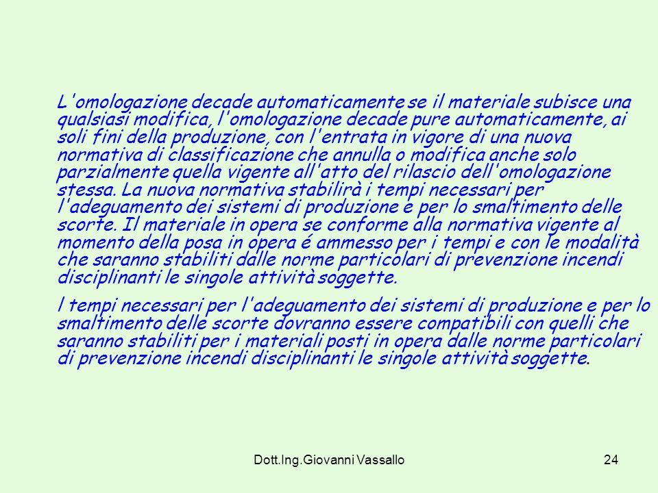 Dott.Ing.Giovanni Vassallo23 Art. 9 Validità, rinnovo e revoca dell'omologazione 9.1- Durata L'omologazione ha validità 5 anni ed é rinnovabile alla s