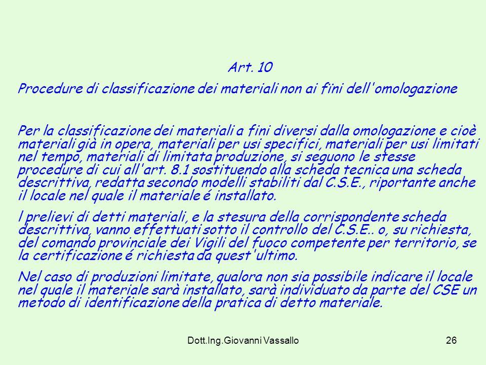 Dott.Ing.Giovanni Vassallo25 9.3 - Revoca Il Ministero dell'interno revoca l'omologazione qualora a seguito degli accertamenti di cui al seguente art.