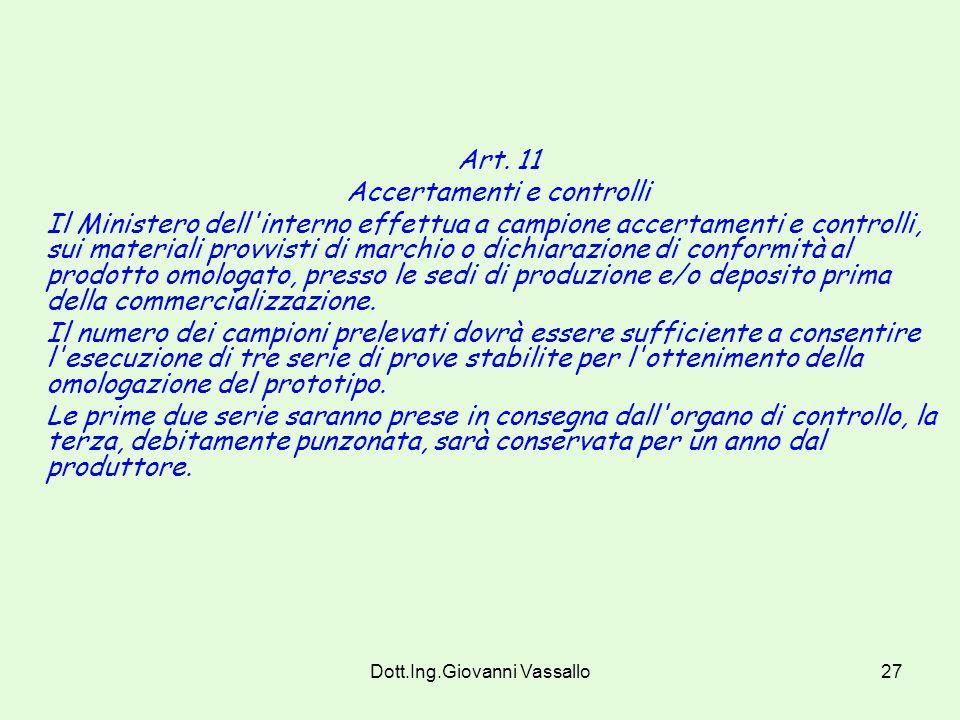 Dott.Ing.Giovanni Vassallo26 Art. 10 Procedure di classificazione dei materiali non ai fïni dell'omologazione Per la classificazione dei materiali a f