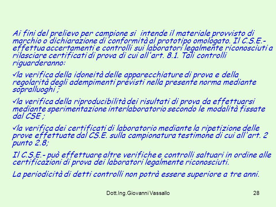 Dott.Ing.Giovanni Vassallo27 Art. 11 Accertamenti e controlli Il Ministero dell'interno effettua a campione accertamenti e controlli, sui materiali pr