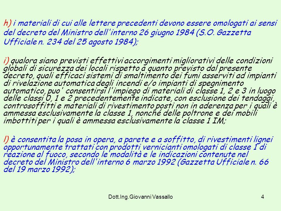 Dott.Ing.Giovanni Vassallo4 h) i materiali di cui alle lettere precedenti devono essere omologati ai sensi del decreto del Ministro dell interno 26 giugno 1984 (S.O.
