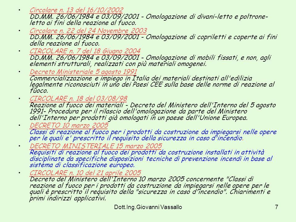 Dott.Ing.Giovanni Vassallo6 Normativa di riferimento D.M. 26/06/84 Classificazione di reazione al fuoco ed omologazione dei materiali ai fini della pr