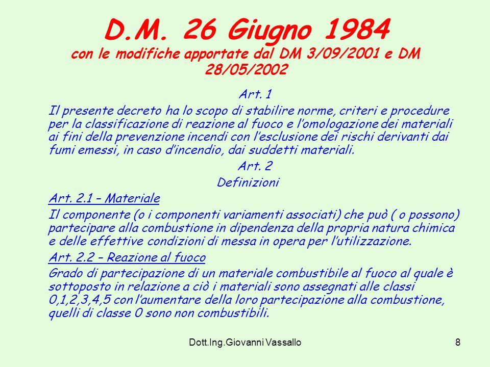 Dott.Ing.Giovanni Vassallo7 Circolare n. 13 del 16/10/2002 DD.MM. 26/06/1984 e 03/09/2001 - Omologazione di divani-letto e poltrone- letto ai fini del